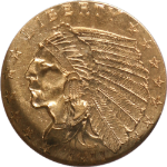 1911-D Indian Gold $2.50 NGC AU 58 Key Date STRONG D Nice Luster