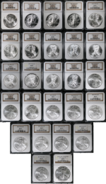 1986-2011 Silver American Eagle $1 NGC MS69 Set of 26 NGC Ceritifed Coins -STOCK
