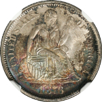 1876-P Seated Liberty Dime NGC MS 65  GREAT COLOR  Nice Luster