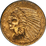 1910 Indian Gold $2.50 PCGS MS64  RICH GOLD COLOR