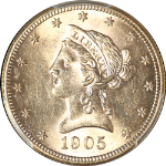 1905-S Liberty Gold $10 PCGS MS62  BRIGHT & FLASHY  Full Luster