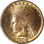1908-P Indian Gold $10 w/MOTTO PCGS MS63  GREAT COLOR   Full Luster