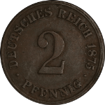 1875-C Germany: Empire 2 Pfennig - VF KM-2 Brown Color Small patch of discolor