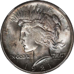 1921 Peace Dollar NGC MS65 High Relief Light Toning Across Surfaces