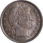 1892-P Barber Quarter Choice BU+ One mark on cheek away from GEM