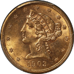 1903-P Liberty Gold $5 PCGS MS63 Nice Luster Nice Strike