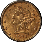 1892-P Liberty Gold $5 PCGS MS63 Fresh and Crisp Tough To Find Nice Strike