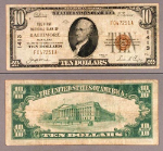 Baltimore MD $10 1929 T-1 National Bank Note Ch #1413 First NB Fine