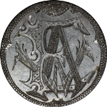 1856 Love Token E A W on a Seated Liberty Quarter