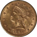 1891-P Liberty Gold $10 PCGS MS61 Slightly Tougher Date Spot-Free Nice Strike