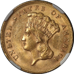 1878 Indian Princess Gold $3 NGC MS61 Great Eye Appeal Fantastic Luster