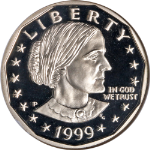 1999-P Susan B. Anthony Dollar NGC PF70UC Great Eye Appeal Fantastic Luster