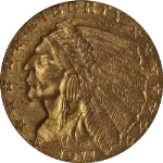 1911-P Indian Gold $2.50 PCGS MS63 Nice Eye Appeal Nice Luster And Strike