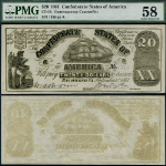 FR. CT-18 $20 1861 Confederate Note CT18/129e Cont. Counterfeit Choice PMG AU58