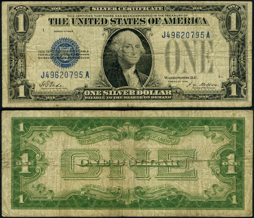 Fr 1600 1 1928 Silver Certificate J A Block Fine