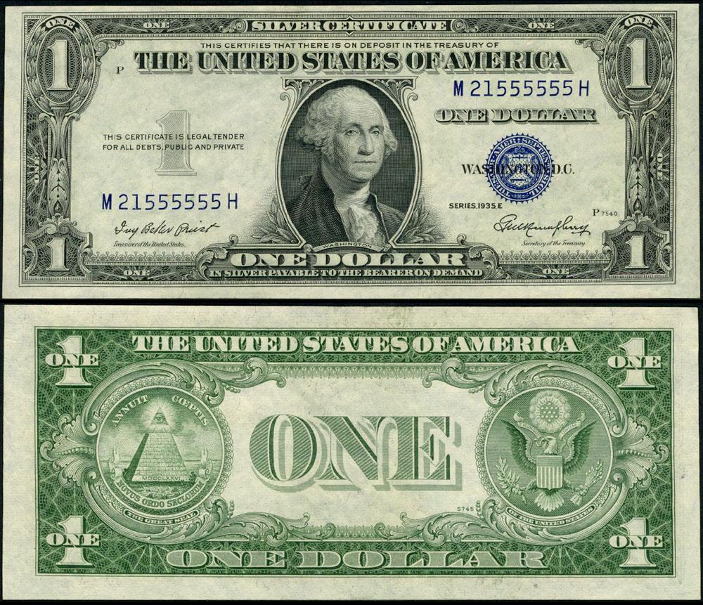 Fr 1614 1 1935 E Silver Certificate M21555555h Cu