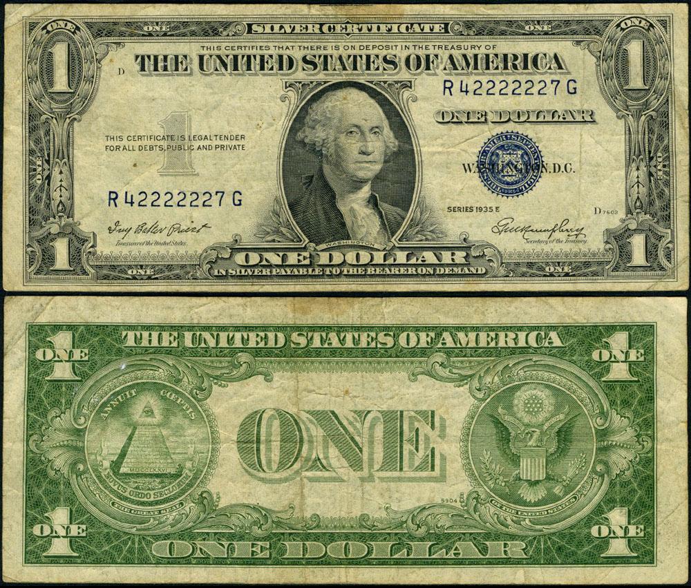 Fr 1614 1 1935 E Silver Certificate R42222227g Fine