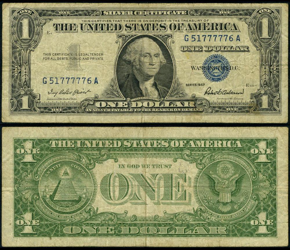 Fr 1619 1 1957 Silver Certificate G51777776a Fine