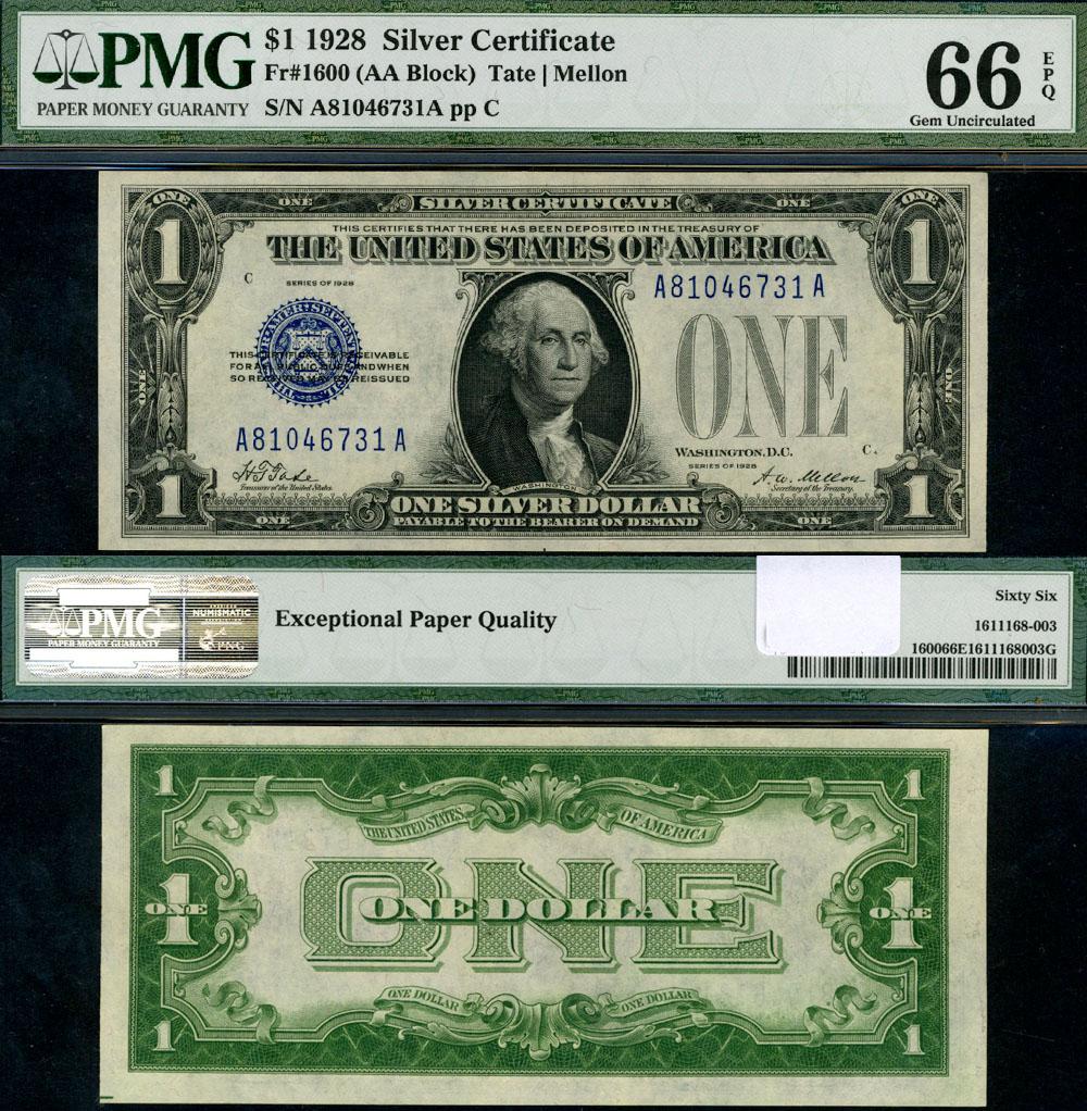 Fr 1600 1 1928 Silver Certificate A A Block Gem Pmg Cu66 Epq