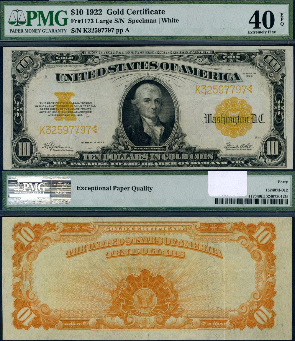 fr 1173 10 1922 gold certificate pmg xf40 epq