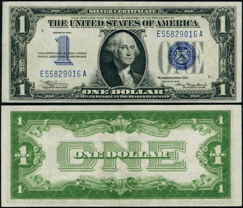 Fr 1606 1 1934 Silver Certificate E A Block Au