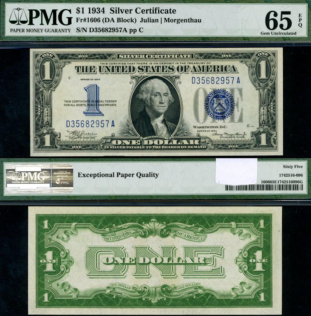 Fr 1606 1 1934 Silver Certificate Pmg Cu65