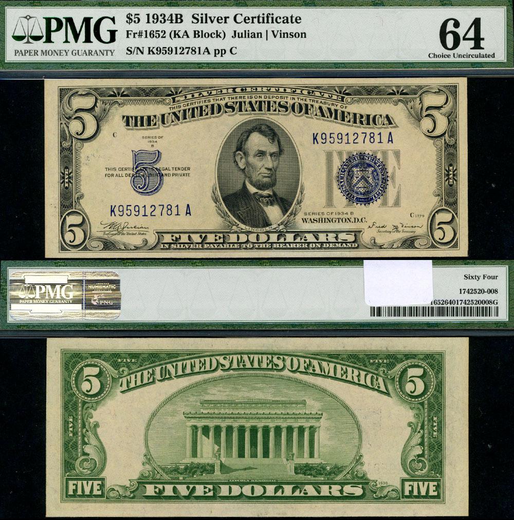 Fr 1652 5 1934 B Silver Certificate Non Mule Pmgcu64