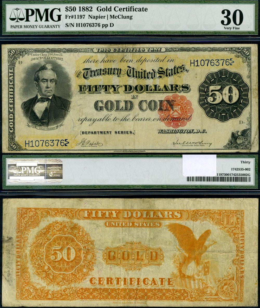 fr 1197 50 1882 gold certificate pmg vf30