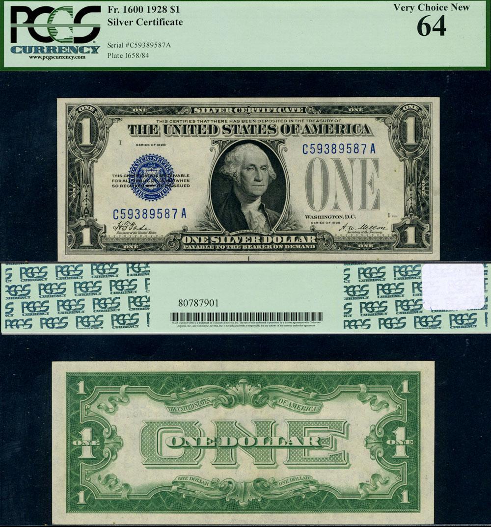 Fr 1600 1 1928 Silver Certificate C A Block Choice Pcgs Cu64