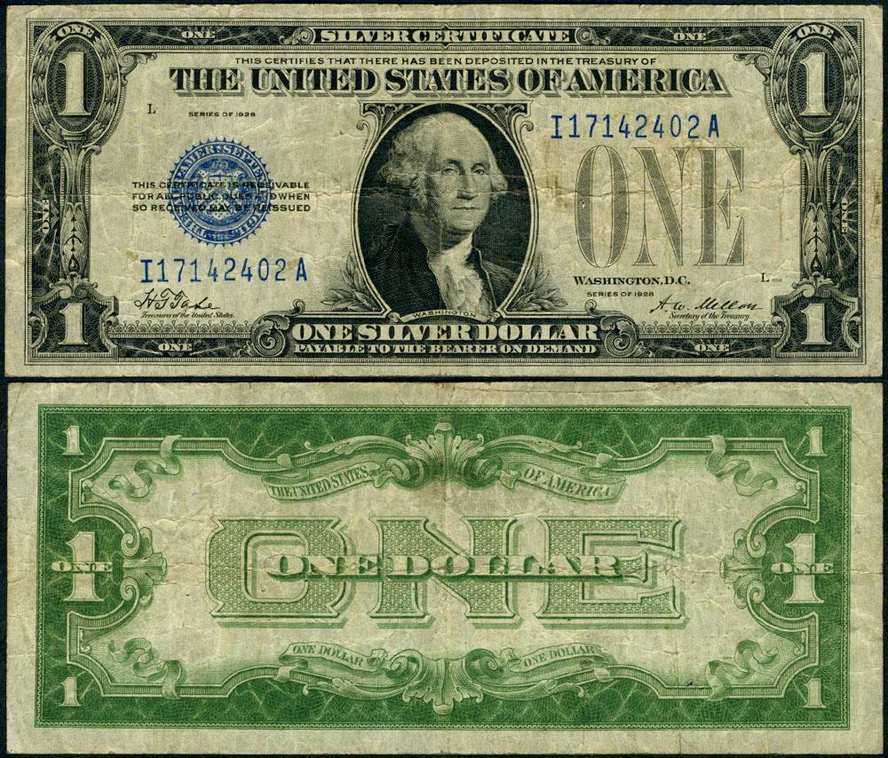 Fr 1600 1 1928 Silver Certificate I A Block Fine