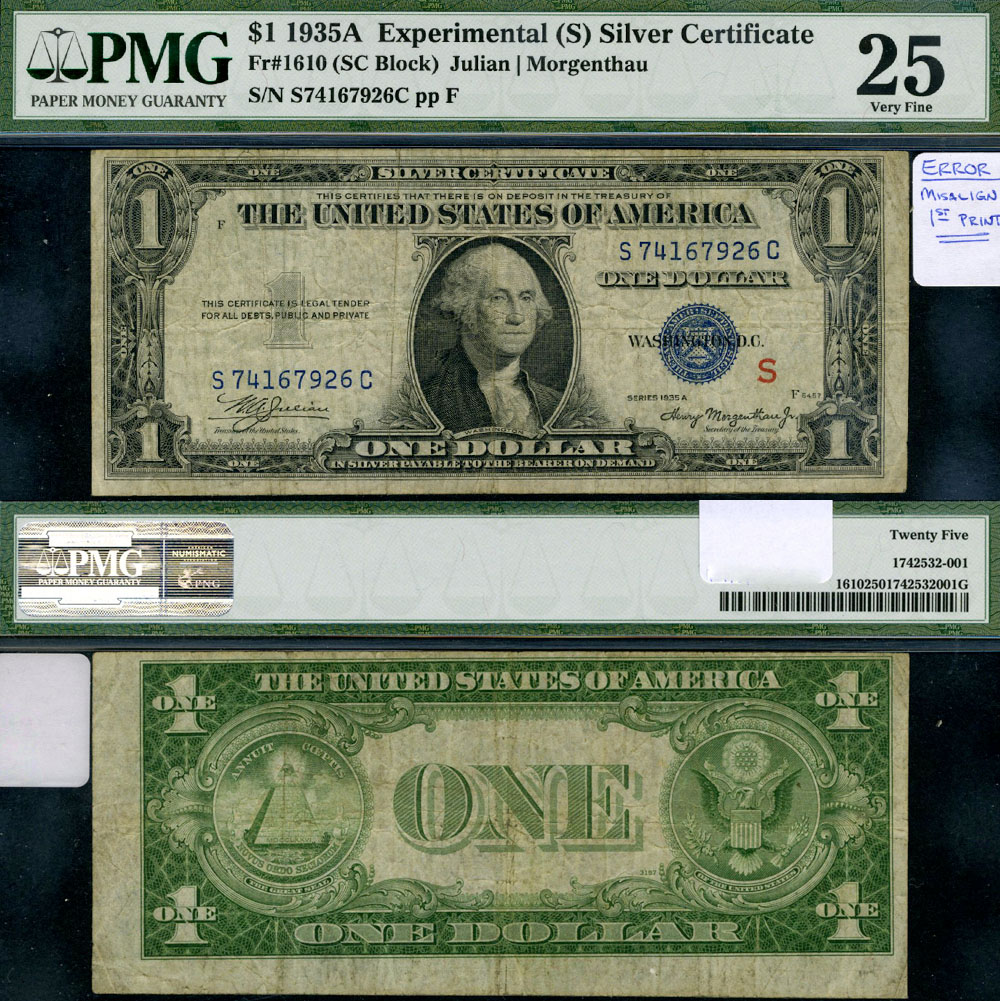 Fr 1610 1 1935 A Silver Certificate Experimental S Surcharge Pmg Vf25