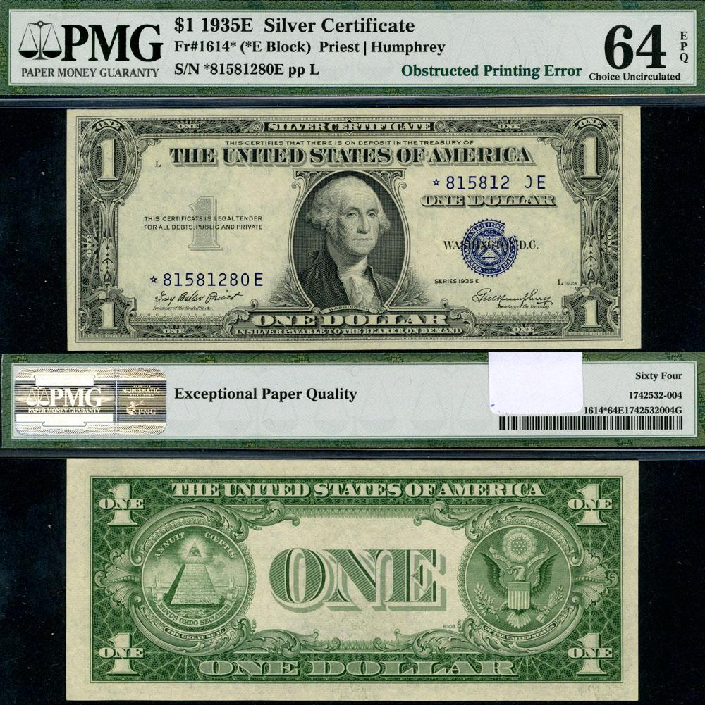 Fr 1614 1 1935 E Silver Certificate Obs Print Error Choice Pmg