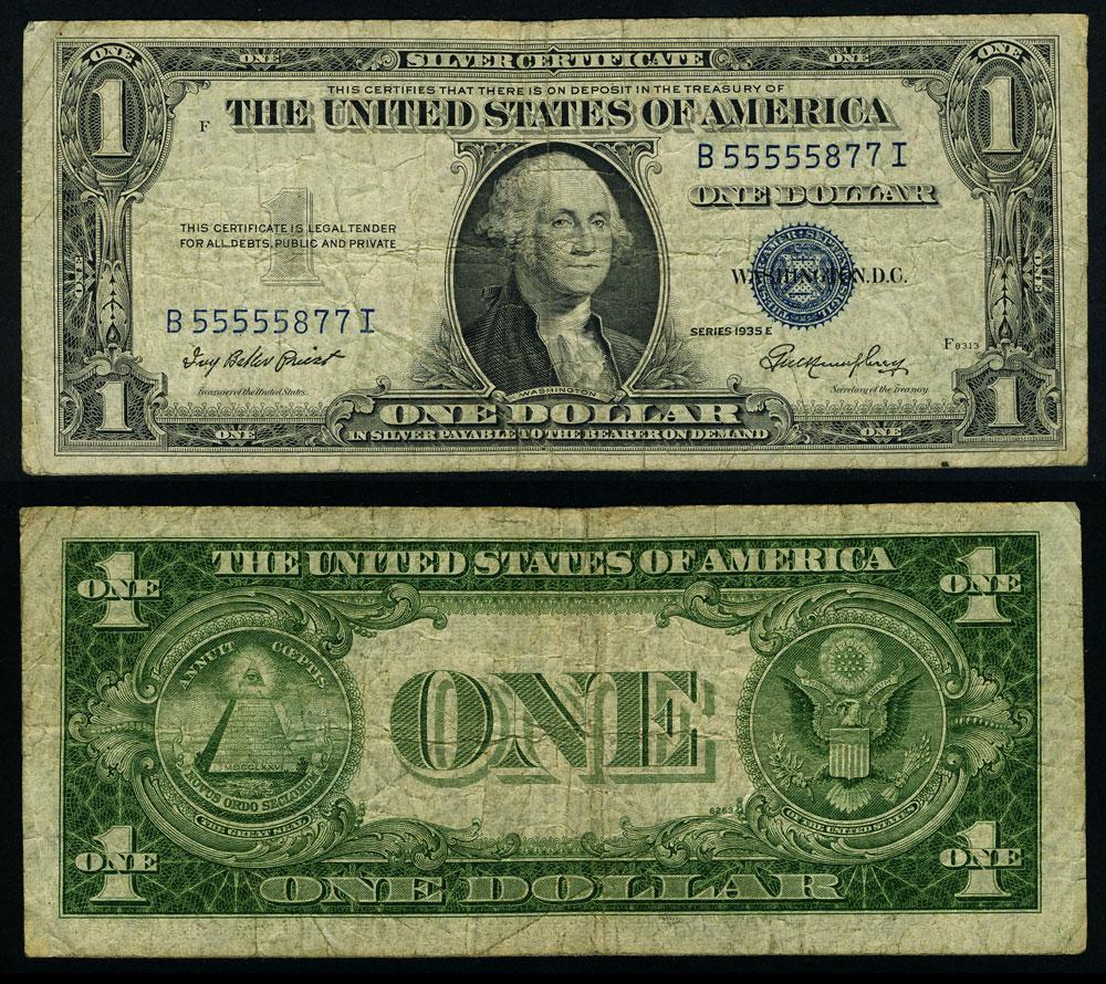 Fr 1614 1 1935 E Silver Certificate B55555877i Fine