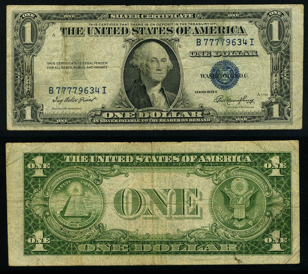 Fr 1614 1 1935 E Silver Certificate B77779634i Fine