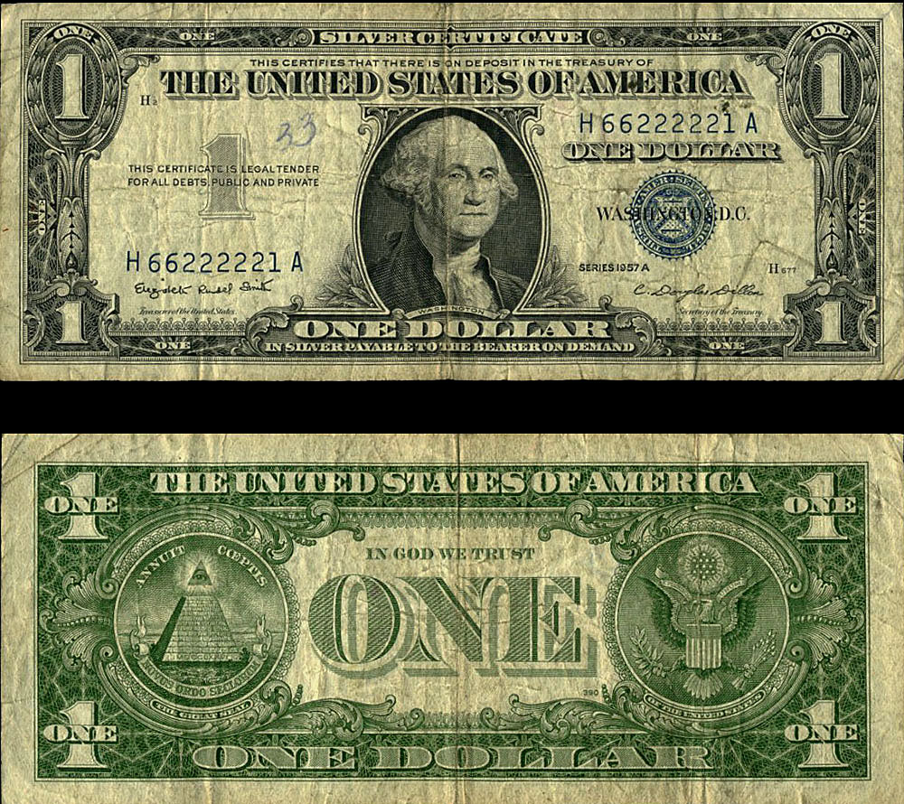 Fr 1620 1 1957 A Silver Certificate H66222221a Writing Very Good