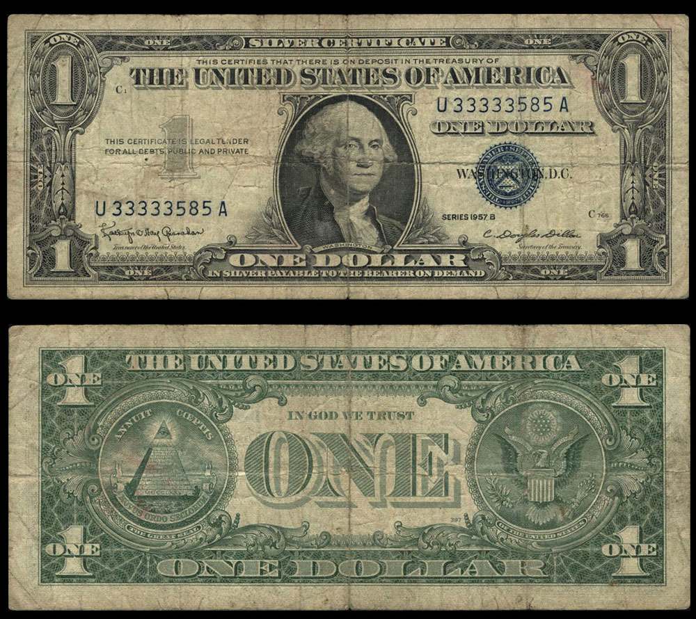 Fr 1621 1 1957 B Silver Certificate U33333585a Very Good