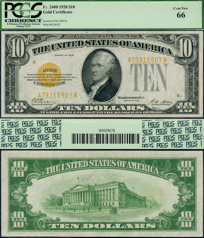 Fr 2400 10 1928 Gold Certificate Gem Pcgs New 66