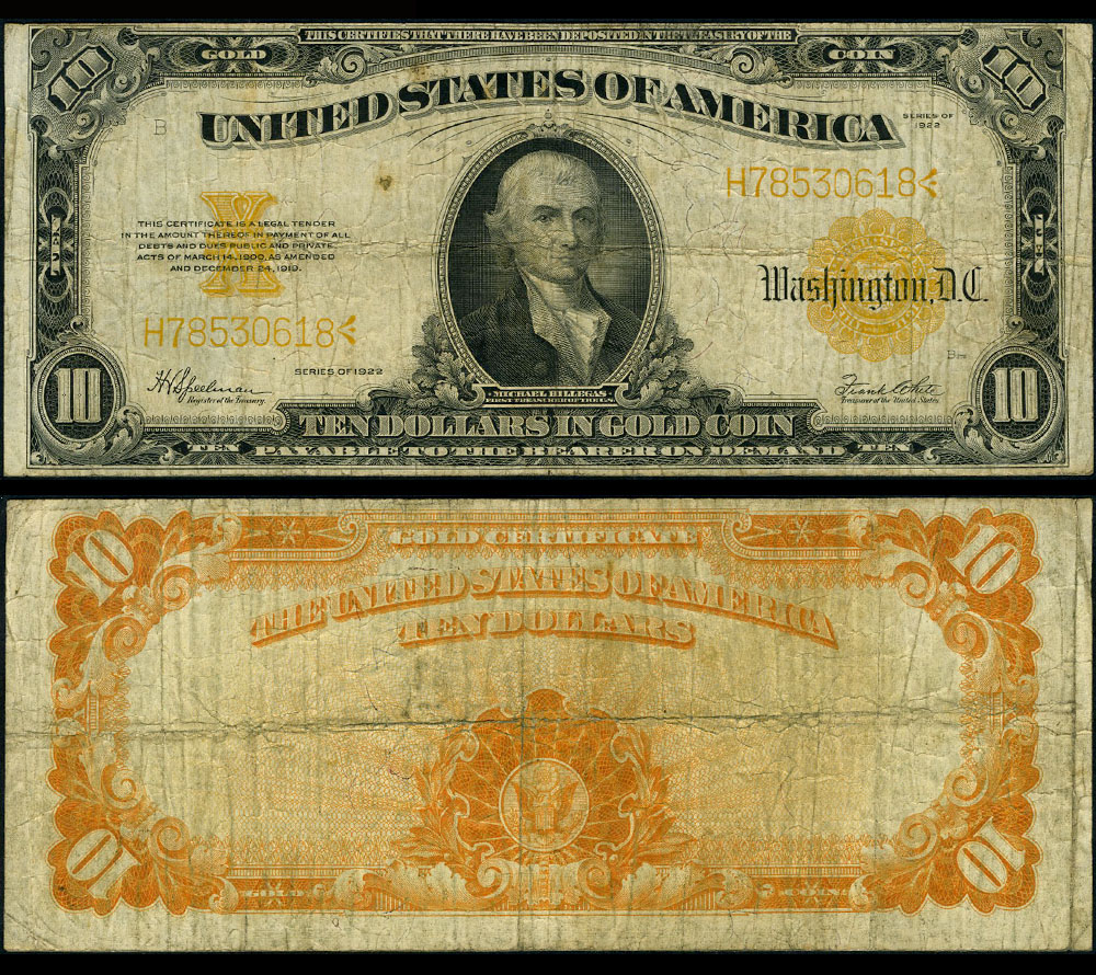 Fr 1173 10 1922 Gold Certificate Very Good